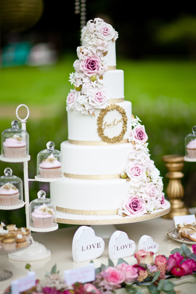 Tiered white wedding cake - LoveLuxe Launch