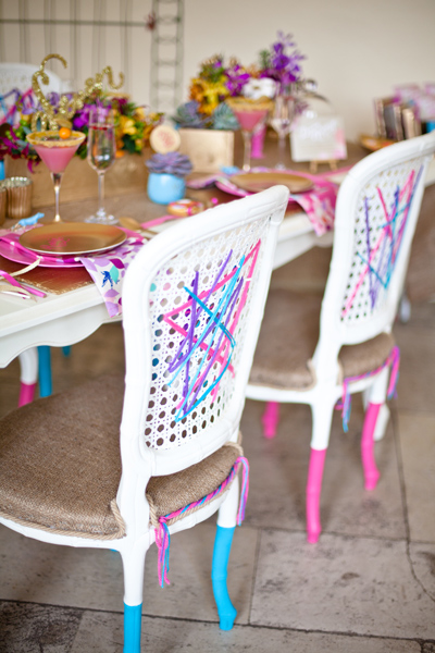 Chairs with blue and pink legs - LoveLuxe Launch