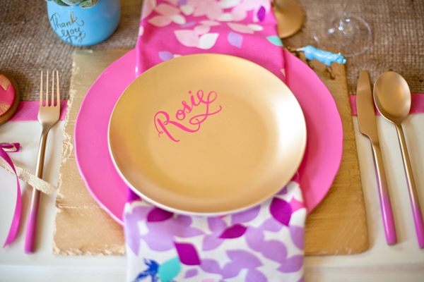 Gold plate on pink mat - LoveLuxe Launch