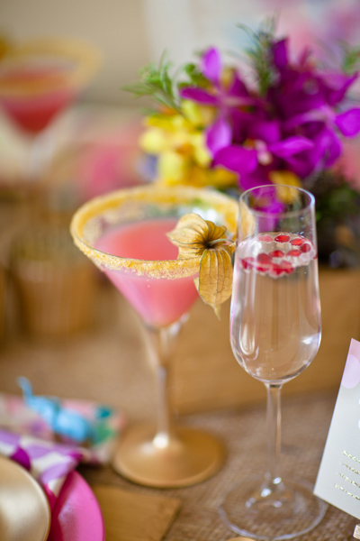 Pink drink in cocktail glass - LoveLuxe Launch