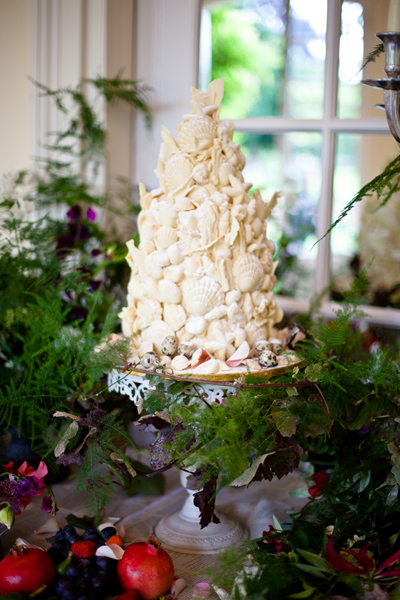 Shell white chocolate wedding cake - LoveLuxe Launch