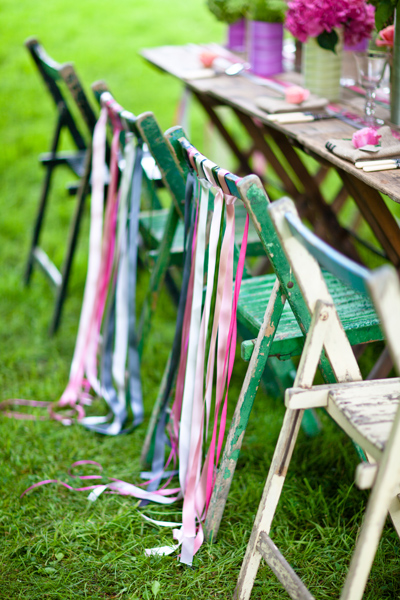 Chairs with ribbons on back - LoveLuxe Launch