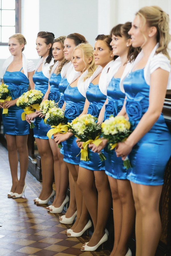 Row of bridesmaids in church - A Spring Themed Wedding in Hungary