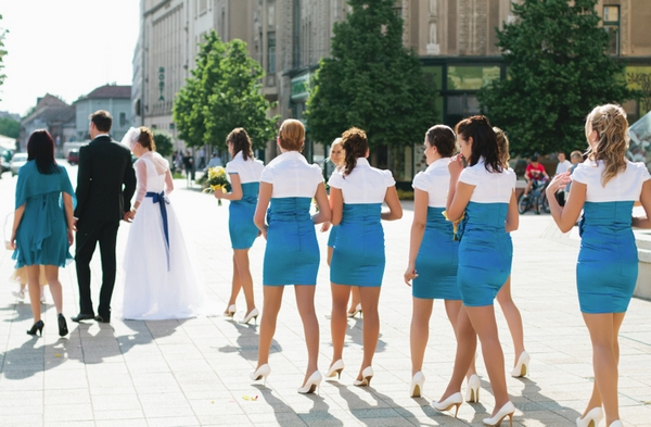 Wedding party leaving church - A Spring Themed Wedding in Hungary
