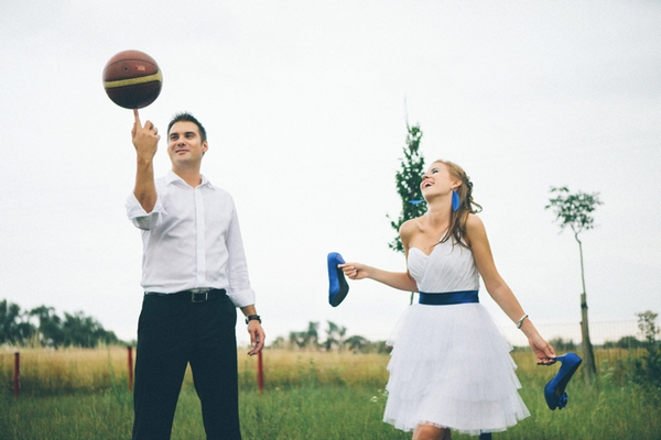 Groom spinning basketball on finger - A Spring Themed Wedding in Hungary