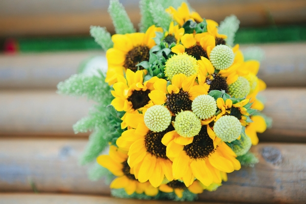 Sunflower wedding bouquet - A Spring Themed Wedding in Hungary