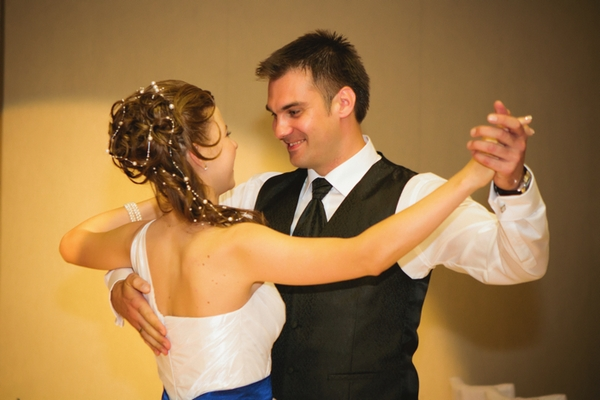 Bride and groom about to dance - A Spring Themed Wedding in Hungary