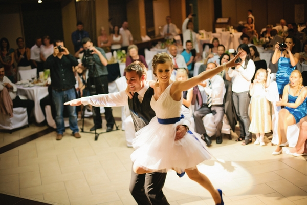 Groom spinning bride round - A Spring Themed Wedding in Hungary