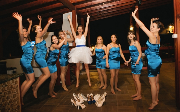 Bride and bridesmaids jumping - A Spring Themed Wedding in Hungary