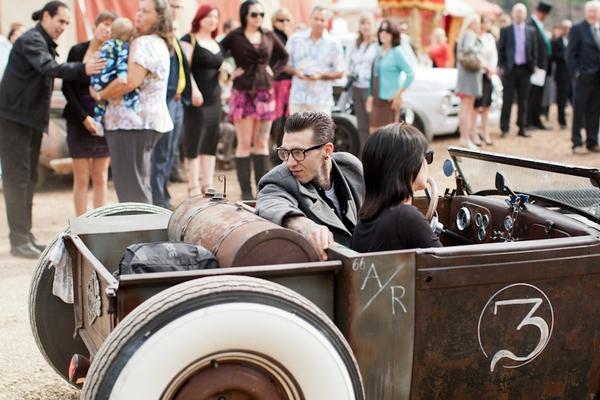 Old car arriving at wedding