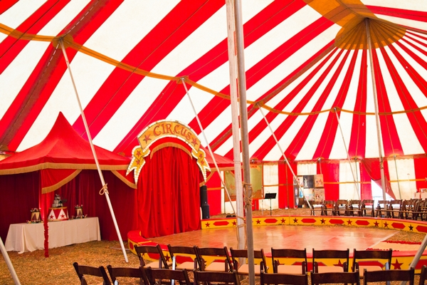 Inside of circus tent ready for wedding