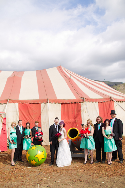 Wedding party outside circus tent
