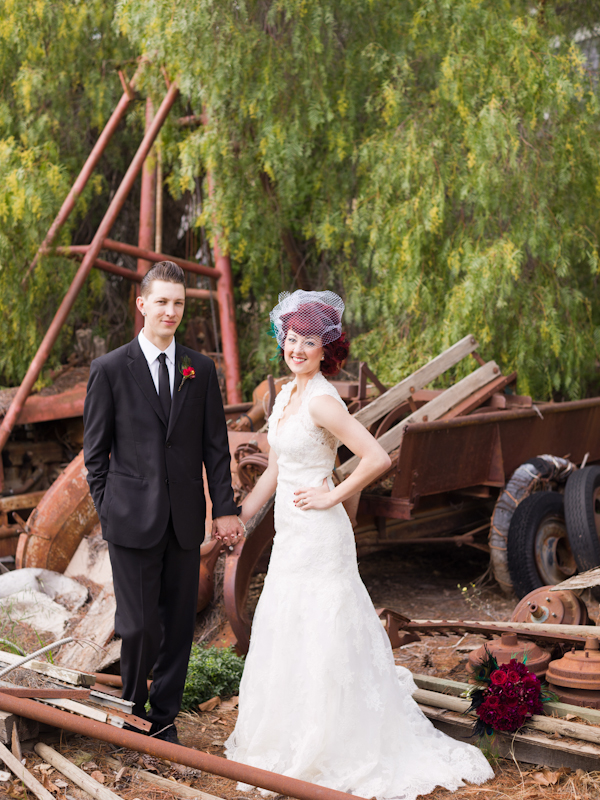 Bride and groom surrounded by scrap
