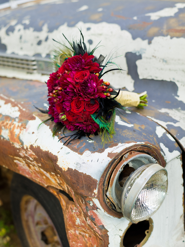 Bridal bouquet on car wing