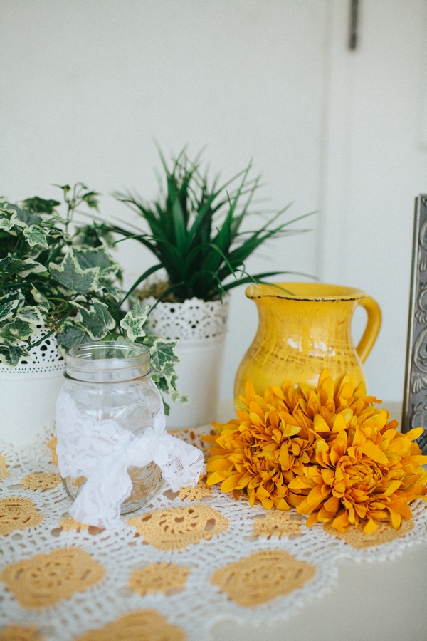 Yellow jug and jam jar