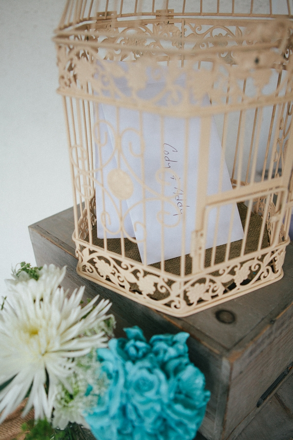 Birdcage with cards in