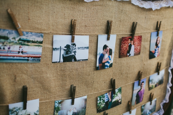 Pictures pegged to hessian