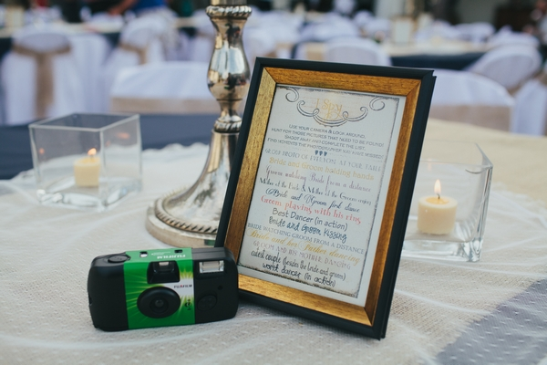 Camera on wedding table with sign