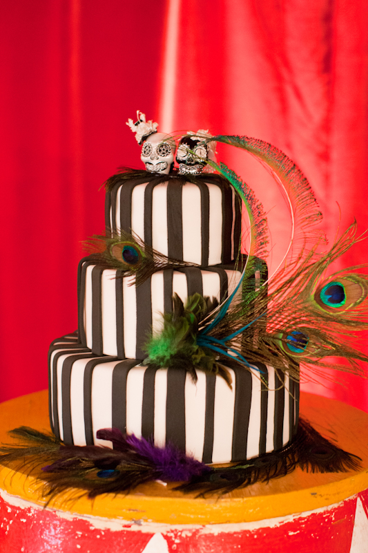 Black and white stripe wedding cake