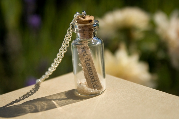 'Bridesmaid' in a Bottle Necklace - Wedding in a Teacup
