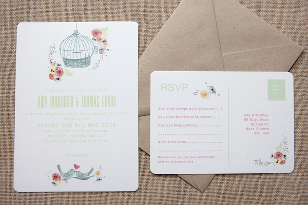 Free as a Bird Wedding Stationery - Wedding in a Teacup