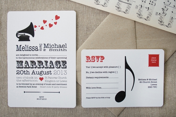 Music Lovers Wedding Stationery - Wedding in a Teacup