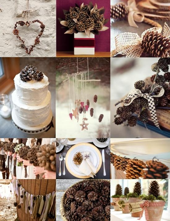 Pine cone wedding decoration ideas mood board