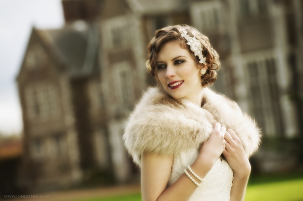 1920's bride with shrug outside Loseley Park