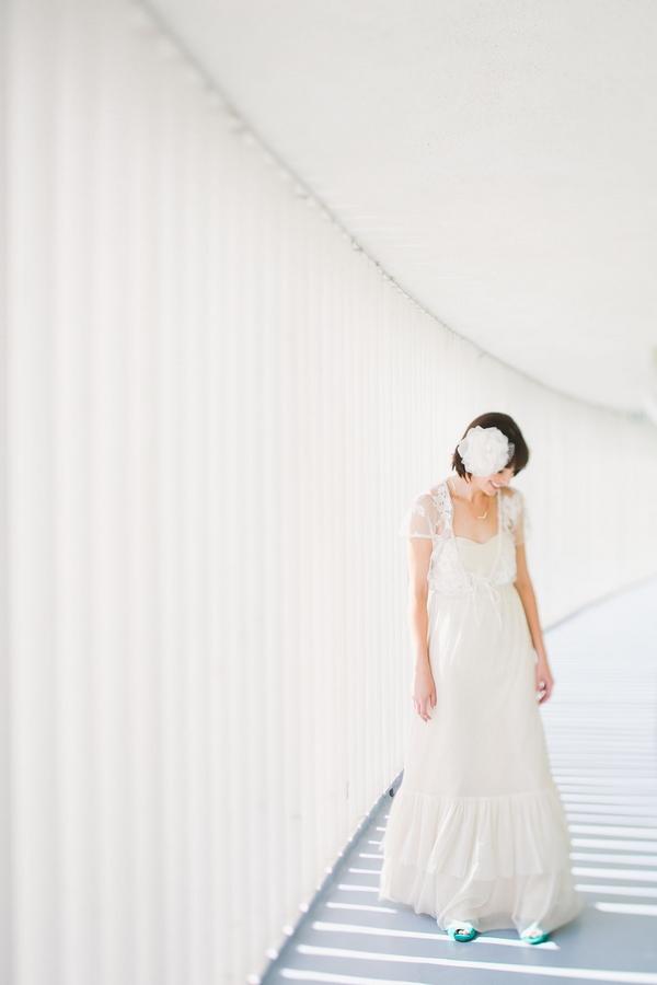 Bride looking down at floor