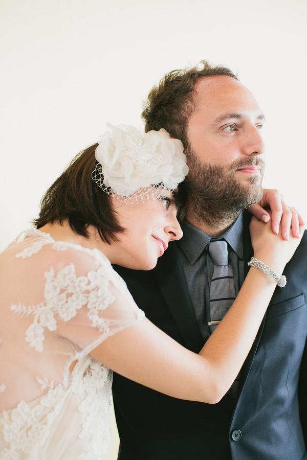 Bride resting head on groom