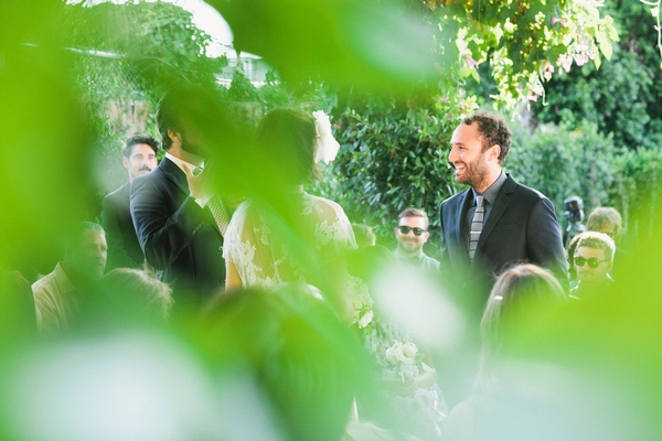 Wedding ceremony through leaves