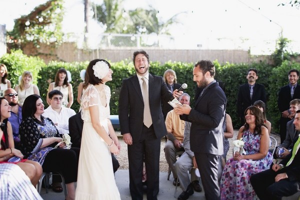 Wedding minister laughing