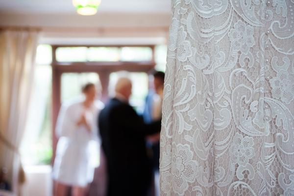 Wedding dress in foreground