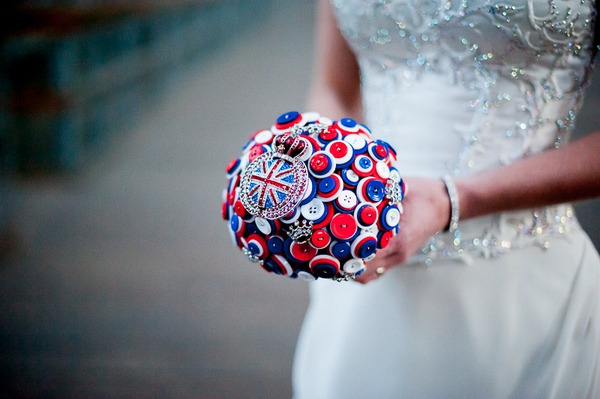 Red white and blue brooch bouquet