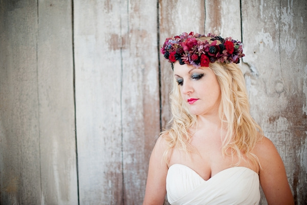 Bride with red floral headpiece