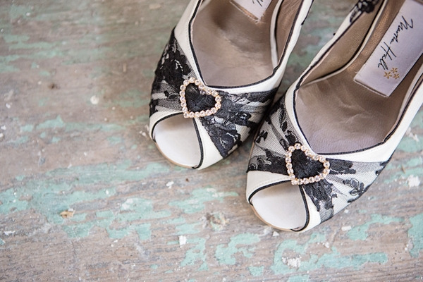 Front of black and white bridal shoes