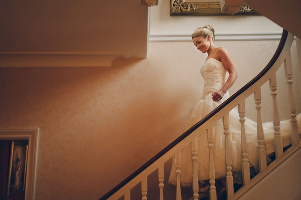 Bride walking down the stairs - Picture by Kristian Leven Photography