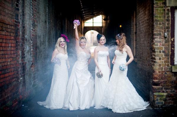 Brides posing by walkway