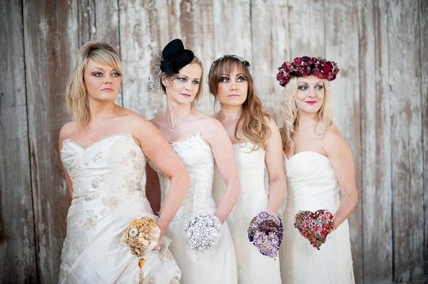 Brides in a line