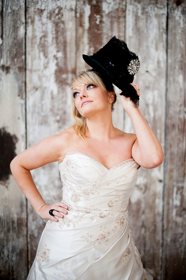 Bride with top hat