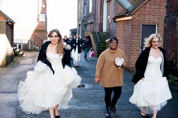 Brides walking to photo shoot