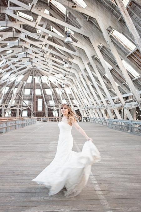 Bride lifting train to twirl