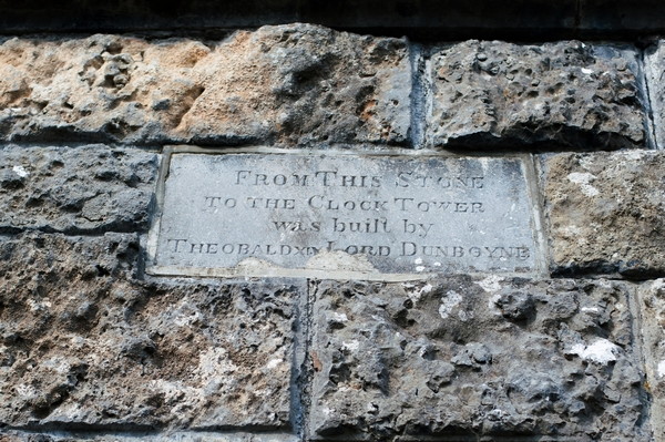 Plaque on castle wall