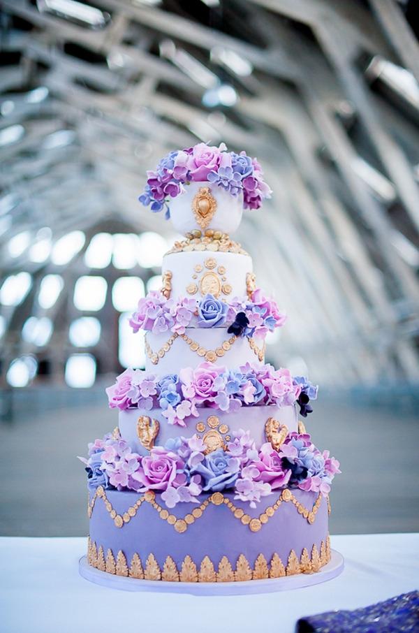 Detailed purple wedding cake