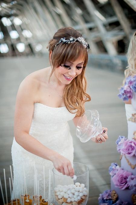 Bride taking sweet