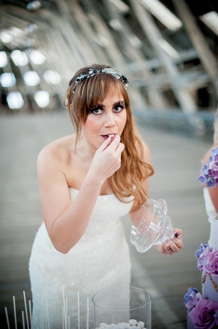 Bride eating sweet