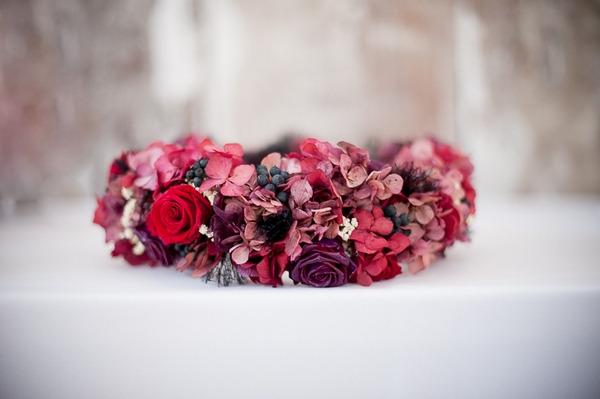 Red flower bridal headpiece
