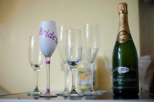 Champagne and bride glass