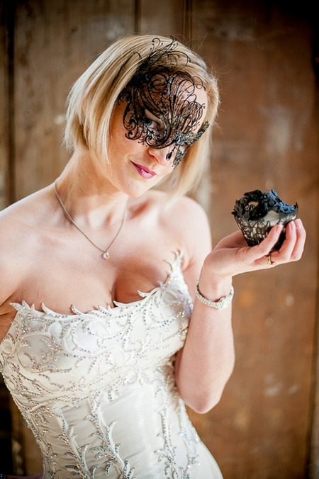 Bride with black mask