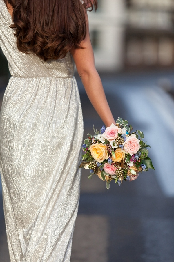 Bride carrying bouquet